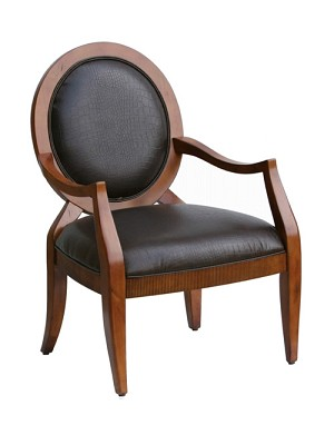 Hamlin Transitional Hand-Carved Accent Chair with Oval Back