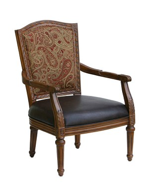 Kent Masculine Carved High Back Accent Chair