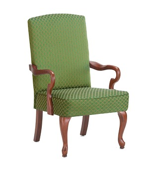 Derby Goose Neck Arm Accent Chair in Green Color