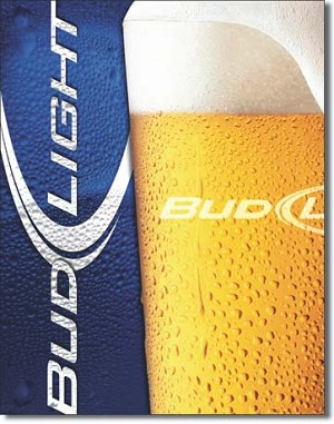 Bud Light - Frosty Glass Tin Sign