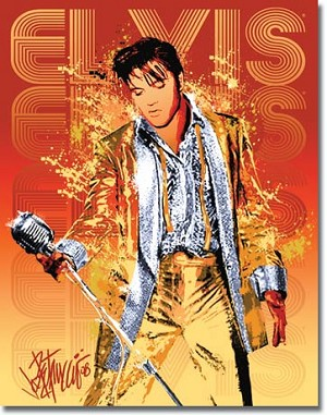 Petruccio - Elvis Gold Lame Tin Sign