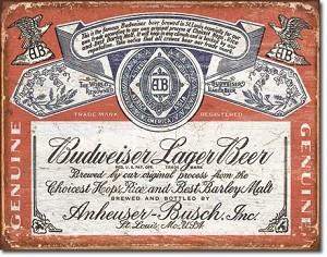 Budweiser Historic Label Tin Sign