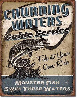 Churning Waters Guide Service Tin Sign
