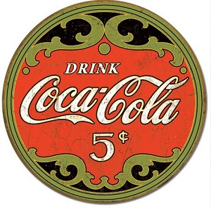 COKE - Round 5 Cents Tin Sign
