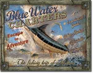 JQ - Blue Water Charters Tin Sign