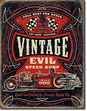 Vintage Evil - Hell Bent Rods Tin Sign