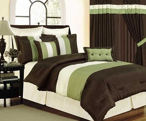 Queen Brown Cream And Green Tones Micro Faux Silk Comforter Set