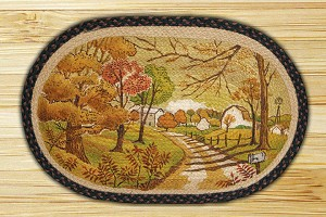 Oval Art Patch Autumn Landscape Braided Earth Rug®