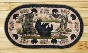 Oval Fun Size Hand Printed Bear At Play Braided Earth Rug®