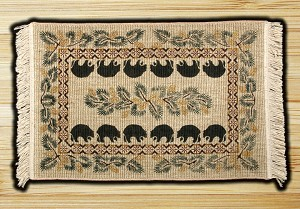 Wicker Weave Hand Print Black Bear Jute Braided Earth Rug®