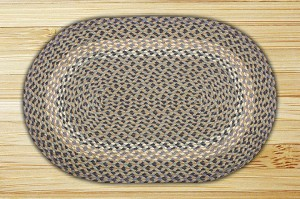 Oval Blue and Natural Jute Braided Earth Rug®