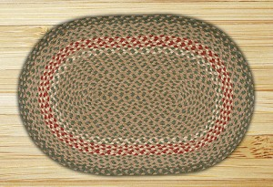 Oval Green and Burgundy Jute Braided Earth Rug®