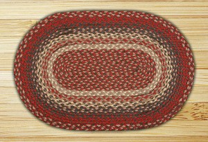 Oval Burgundy Jute Braided Earth Rug®