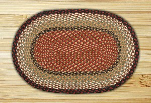 Oval Burgundy and Mustard Jute Braided Earth Rug®