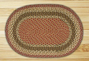 Oval Olive Burgundy and Gray Jute Braided Earth Rug®