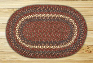 Oval Burgundy and Gray Jute Braided Earth Rug®