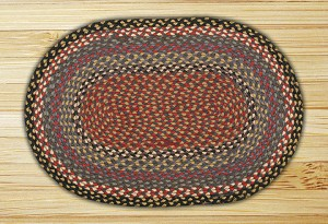 Oval Burgundy Blue and Gray Jute Braided Earth Rug®