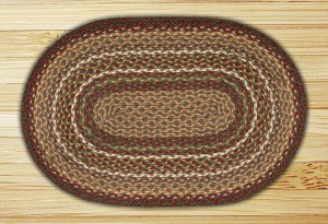 Oval Burgundy and Ivory Jute Braided Earth Rug®