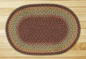 Oval Burgundy Black and Sage Jute Braided Earth Rug®