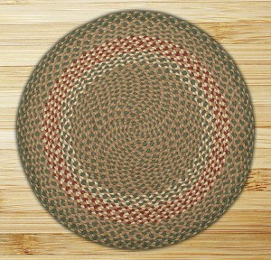 Round Circle Green and Burgundy Jute Braided Earth Rug®