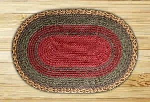 Oval Burgundy Green and Sunflower Jute Braided Earth Rug®