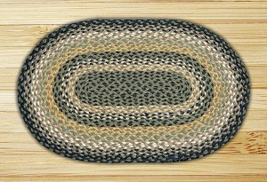 Oval Black Mustard and Creme Jute Braided Earth Rug®