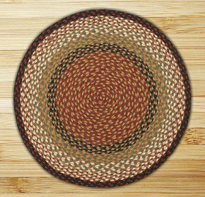 Round Circle Burgundy and Mustard Jute Braided Earth Rug®