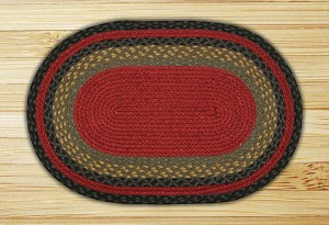 Oval Burgundy Olive and Charcoal Jute Braided Earth Rug®