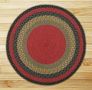 Round Circle Burgundy Olive and Charcoal Jute Braided Earth Rug®