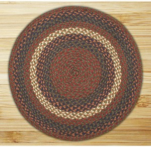 Round Circle Burgundy and Gray Jute Braided Earth Rug®