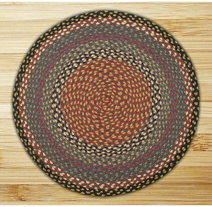 Round Circle Burgundy Blue and Gray Jute Braided Earth Rug®