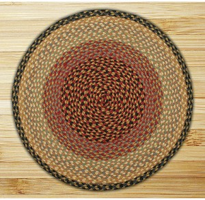 Round Circle Burgundy Gray and Creme Jute Braided Earth Rug®