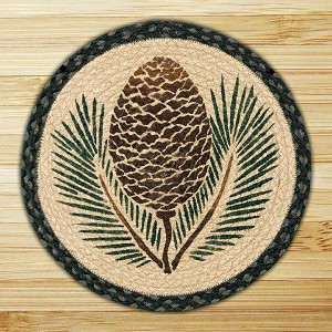 Hand Printed Chair Pad Pinecone Jute Braided Earth Rug®