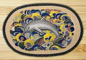 Oval Art Patch Dolphin Joy Braided Earth Rug®