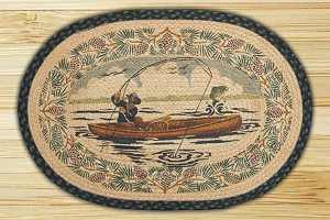 Oval Hand Printed Fishing Braided Earth Rug®