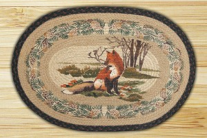 Oval Hand Printed Fox Braided Earth Rug®