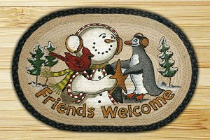 Oval Art Patch Friends Welcome Braided Earth Rug®