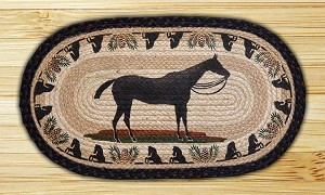 Oval Fun Size Hand Printed Horse Braided Earth Rug®