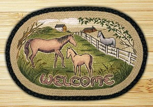 Oval Art Patch Horse Welcome Braided Earth Rug®