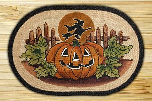 Oval Art Patch Jack-O-Lantern and Witch Braided Earth Rug®