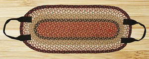 Oval Log Carrier Burgundy and Mustard Jute Braided Earth Rug®