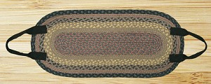 Oval Log Carrier Brown Black and Charcoal Jute Braided Earth Rug®