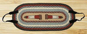 Oval Log Carrier Blue and Burgundy Lighthouse Jute Braided Earth Rug®
