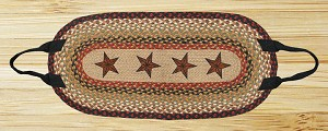 Oval Log Carrier Burgundy and Mustard Barn Star Jute Braided Earth Rug®