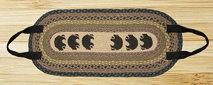 Oval Log Carrier Brown Black and Charcoal Black Bear Jute Braided Earth Rug®