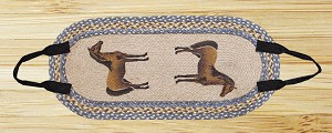 Oval Log Carrier Vintage Denim and Tan Horse Jute Braided Earth Rug®