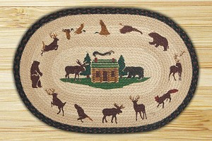 Oval Hand Printed Lodge Cabin Braided Earth Rug®