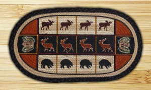 Oval Fun Size Hand Printed Lodge Cabin Braided Earth Rug®
