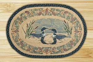 Oval Hand Printed Loon Face to Face Braided Earth Rug®