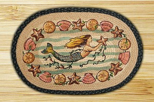 Oval Art Patch Mermaid Braided Earth Rug®